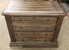 Country Style Natural Wood Finish 2 Drawer Lateral FILE Cabinet in the Manner of Maitland Smith with Original Tags  Located Inside – Auction Estimate $100-$300