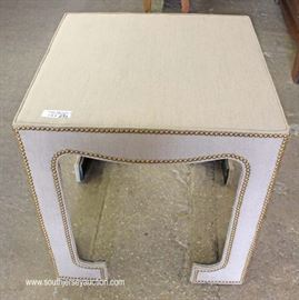 "Fabric Wrapped Decorator Modern Form End Table by ""Laneventure Furniture""  Located Inside – Auction Estimate $100-$200"