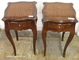 PAIR of 1 Drawer French Style Inlaid Lamp Tables  Located Inside – Auction Estimate $100-$200