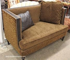 "QUALITY High Back Even Arm Fabric and Leather Decorator Loveseat by ""Rachlin Furniture""  Located Inside – Auction Estimate $300-$600"