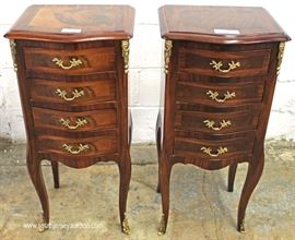 PAIR of 4 Drawer Lingerie Style Mahogany Banded and Inlaid Night Stands  Located Inside – Auction Estimate $200-$400