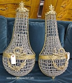 PAIR of Bronze and Crystal Hanging Tear Drop Sconces  Located Inside – Auction Estimate $200-$400