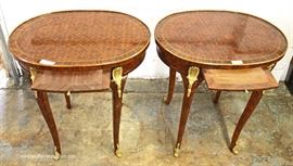 PAIR of Oval French Style One Drawer Stands with Applied Bronze  Located Inside – Auction Estimate $100-$300