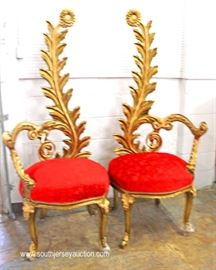 UNIQUE PAIR of Leaf Carved Sun Flower Top Fireside Chairs in the Gold Gilt Style  Located Inside – Auction Estimate $300-$600