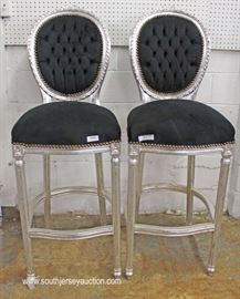 Selection of PAIRS of Chrome Style Finish High Back Bar Island Stools  Located Inside – Auction Estimate $200-$400