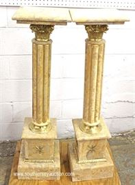PAIR of Marble French Style Pedestals with Bronze  Located Inside – Auction Estimate $200-$400