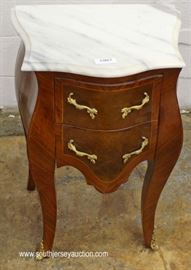 PAIR of French Style Marble Top 2 Drawer Commodes  Located Inside – Auction Estimate $200-$400