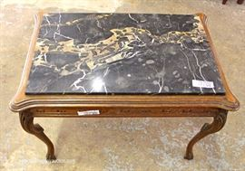VINTAGE Walnut Marble Top Tea Table  Located Inside – Auction Estimate $50-$100