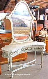 VINTAGE PAINT Decorated Kidney Shape French Style Vanity  Located Inside – Auction Estimate $200-$400