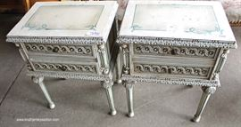 PAIR of French Style VINTAGE Paint Decorated Night Stands  Located Dock – Auction Estimate $100-$200