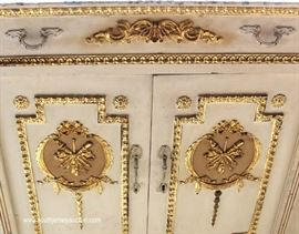 FANCY French Style VINTAGE Paint Decorated Buffet  Located Inside – Auction Estimate $200-$400