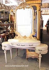 VERY NICE VINTAGE French Style Paint Decorated Vanity  Located Inside – Auction Estimate $200-$400