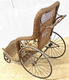 ANTIQUE Wicker Wheel Chair attributed to Heywood Wakefield  Located Inside – Auction Estimate $200-$400