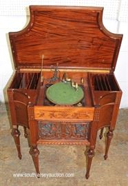 ANTIQUE Floor Model Victrola in FANCY Mahogany Case – NICE MODEL  Located Inside – Auction Estimate $200-$400