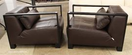 PAIR of Mahogany Frame and Leather Modern Design Club Chairs  Located Inside – Auction Estimate $200-$400