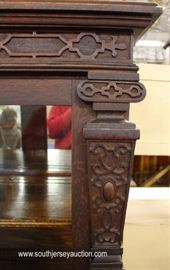 ANTIQUE Oak Carved Mirrored Back China Cabinet  Located Inside – Auction Estimate $200-$400