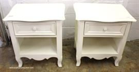 "PAIR of White One Drawer Carved Country French Style Night Stands by ""Young America""  Located Inside – Auction Estimate $100-$200"