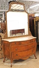 Early 20th Century Satinwood Marble Top French Style Dresser with FANCY Carved Mirror  Located Inside – Auction Estimate $300-$600