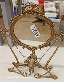 Bronze Antique Style Dressing Mirror with Swinging Lady  Located Inside – Auction Estimate $100-$300
