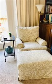 Damask pattern chair and ottoman