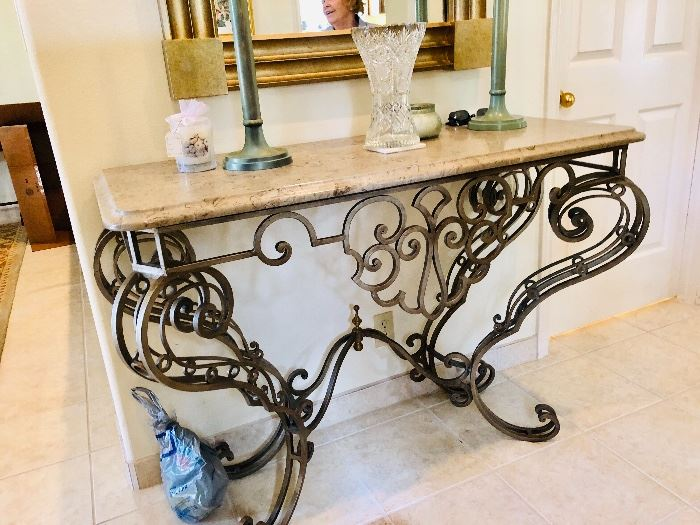 Italianate iron entry table with marble top