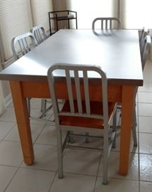 Stainless steel and oak dinette set with 6 chairs,  brand: John Boos