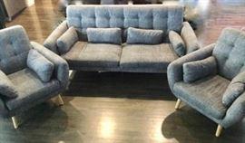 Gray Micofiber Faux Tweed Modern sofa ensemble