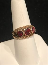 Garnet and gold ring