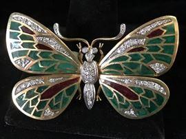 Plique a jour butterfly brooch