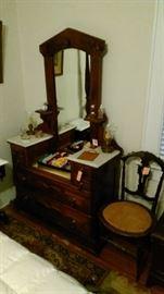 Victorian mirrored dresser, cane bottom chair