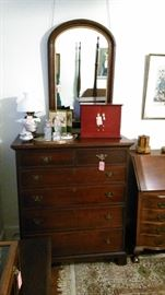 2 drawer over 4 drawer chest, dome top wall mirror