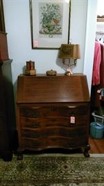Mahogany drop front desk with serpentine front