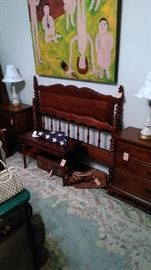 Craftique end tables, head and foot board, piano table, US flag