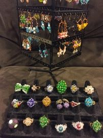 Crystal and Stone Earrings and Rings