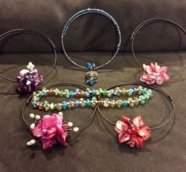 CHOKERS WITH FLORAL DESIGNS, CRYSTALS