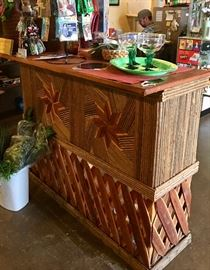 Equipales  Bar... Ushaped hand made .  Made of pine with leather top. Shelf on backside.