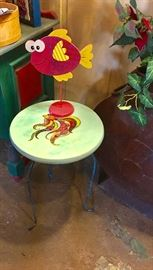 Hand painted resin top table on metal base and fish decor