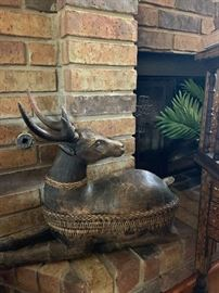 Hand carved wooden deer boxes