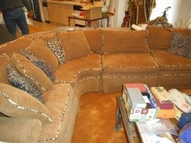 Cute Sectional couch : Tan corduroy fabric  with animal print cord and pillows. Great condition!