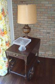 Henkel Harris tea cart and lamp. Cake plate sold.