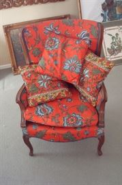 Custom upholstered wing back Queen Anne chair.