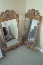 Fabulous, rare, Italian giltwood  antique mirrors with Cupids and eagles carvings.