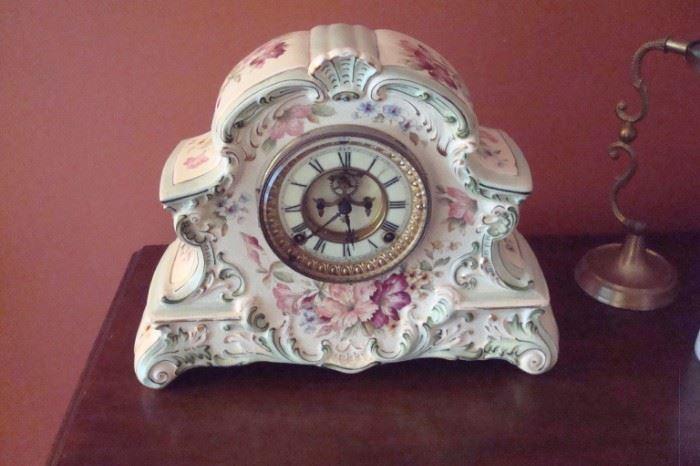 Peconic  Ansonia antique china cased clock