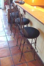 Three bar stools,