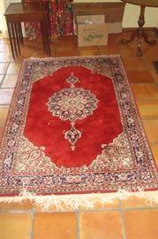 Hand knotted oriental wool Sarouk oriental rug.