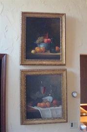 Pair original  oil paintings, one by G. Upsilver.