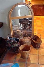 Mirror, baskets & etc.