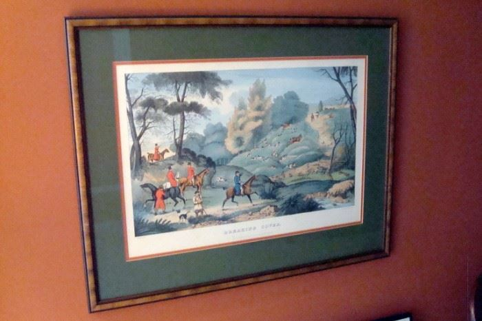 "Old English hunting print, "" Breaking Cover""."