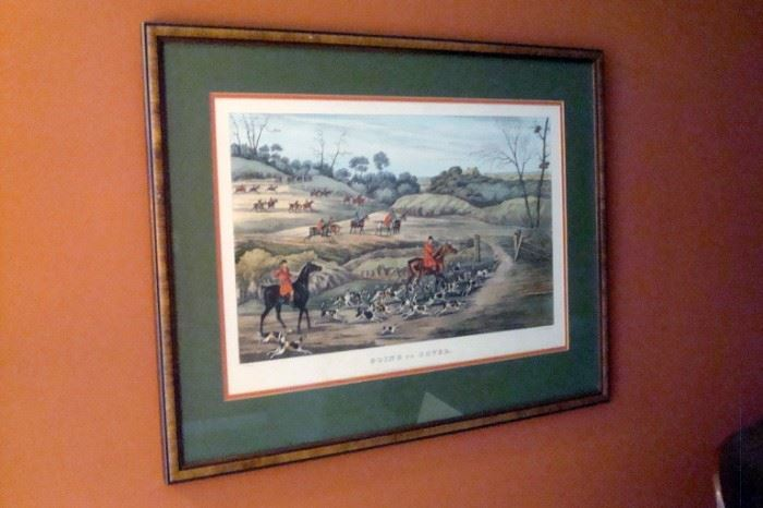 "Old English hunting print, ""Going to Cover""."