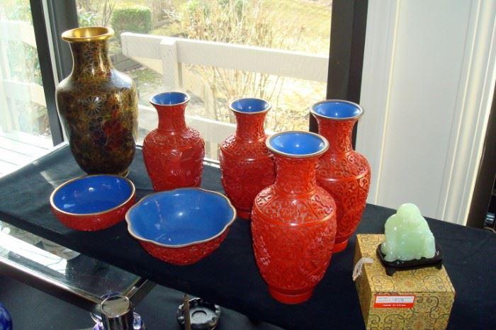 Large vintage Cloisonne vase,  cinnabar vases & bowls and green jade Buddha.